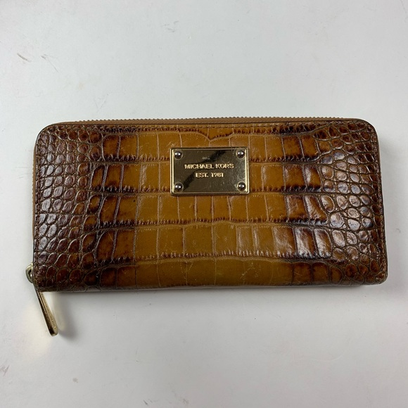 Michael Kors Handbags - Michael Kors Croc look Wallet brown & gold
